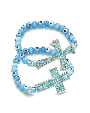 Amulet Love Couple or Best Friends Set Evil Eye Protection Magic Cross Spiritual Blue Bracelets
