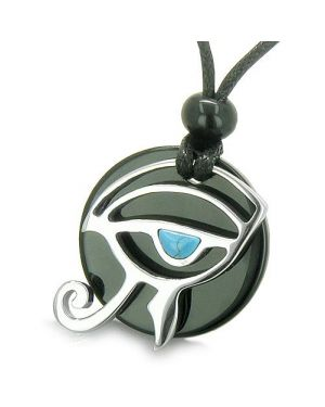 Amulet Eye of Horus All Seeing Egyptian Magic Powers Onyx Turquoise Gems Pendant Necklace