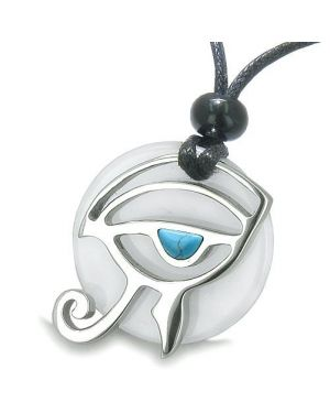 Amulet Eye of Horus All Seeing Egyptian Magic Powers White Jade Turquoise Pendant Necklace