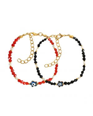 Evil Eye Protection Love Couples Amulets Set Royal Red White Black Blue Lucky Star Bracelets