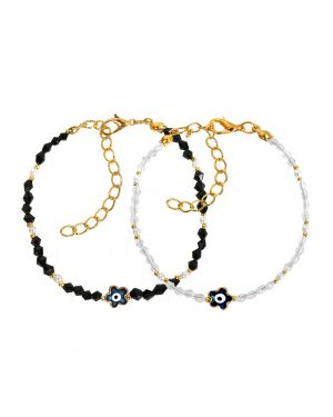 Evil Eye Protection Love Couples Amulets Set Royal Black White Blue Lucky Star Bracelets