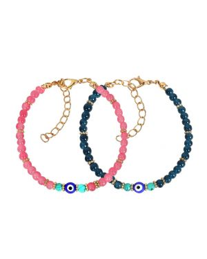 Evil Eye Protection Love Couples Amulets Set Ocean Blue Pink Simulated Turquoise Charm Bracelets