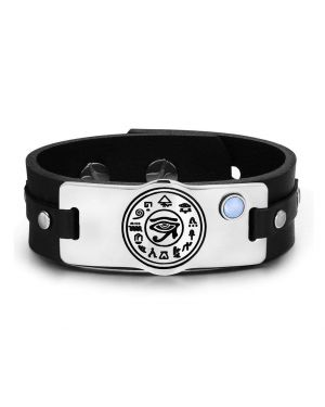 All Seeing and Feeling Eye of Horus Amulet Blue Simulated Cats Eye Adjustable Leather Bracelet