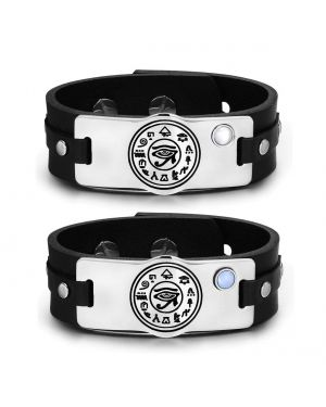 All Seeing and Feeling Eye of Horus Amulet Couples Blue White Simulated Cats Eye Leather Bracelets