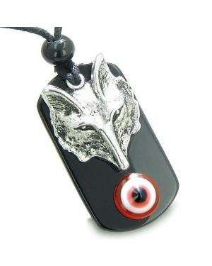 Amulet Wise Wolf Head and Evil Eye Protection Spiritual Powers Red Eye Black Onyx Pendant Necklace