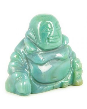 Good Luck Talisman Green Agate Happy Buddha Gemstone Carving