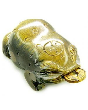 Evil Eye Protection Lucky Coin Three Leg Todd Tiger Eye Carving