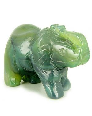 Good Luck Talisman Green Agate Elephant Gemstone Carving