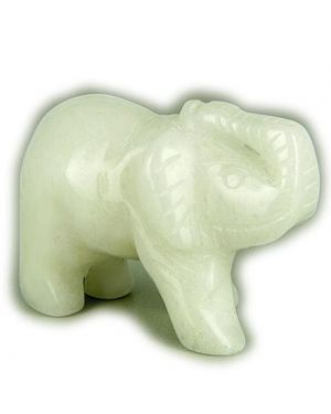 Good Luck Talisman White Jade Elephant Gemstone Carving