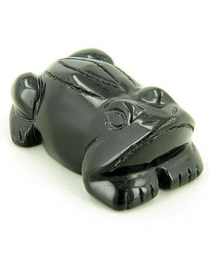 Good Luck and Spiritual Frog Totem Black Onyx Gemstone Carving