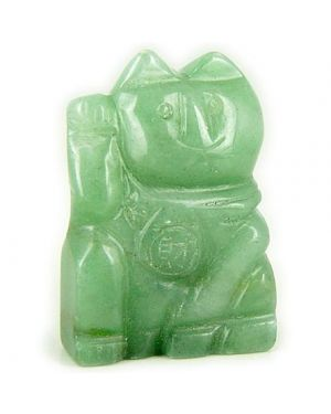Money Talisman Green Aventurine Lucky Cat Gemstone Carving