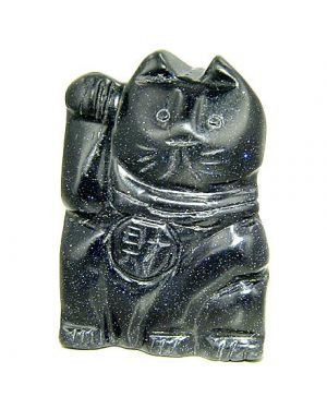 Talisman Good Luck Blue Goldstone Lucky Cat Gemstone Carving