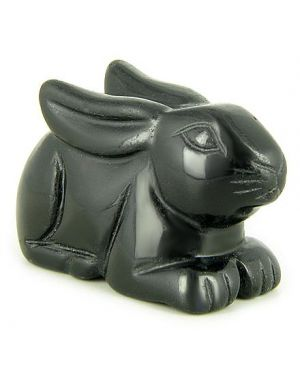 Spiritual Protection Talisman Black Onyx Rabbit Gemstone Carving