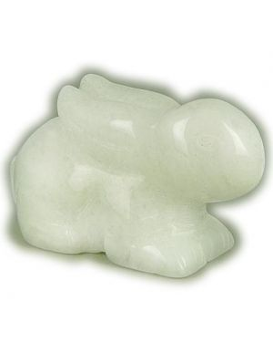 Good Luck Talisman White Jade Rabbit Gemstone Carving