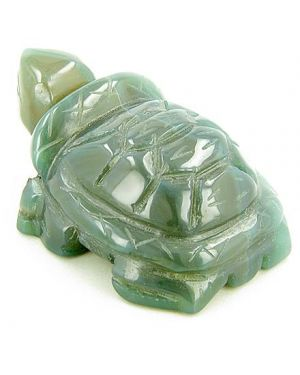 Good Luck Talisman Lucky Turtle Green Agate Carving