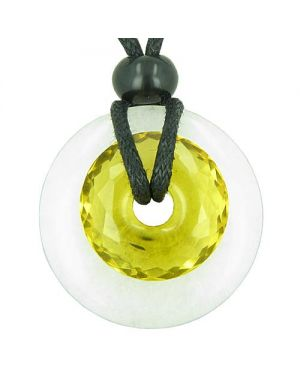 Amulet Individual Magic Circles Double Lucky Donuts White Jade Faceted Citrine Pendant Necklace