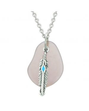 Handcrafted Free Form Sea Glass Royal Purple Amulet Arrowhead Shaped Feather Magic Powers 22 Inch Necklace