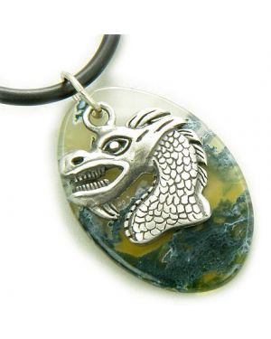 Fortune Courage Dragon Moss Agate Amulet On Rubber Necklace