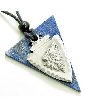 Protection Double Arrowhead Lapis Lazuli Wolf Amulet Necklace