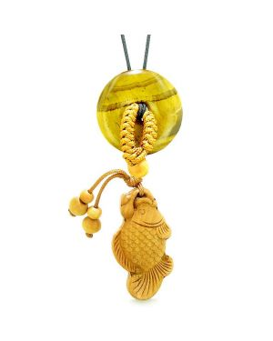 Fortune Fish Magic Car Charm or Home Decor Tiger Eye Lucky Coin Donut Protection Powers Amulet