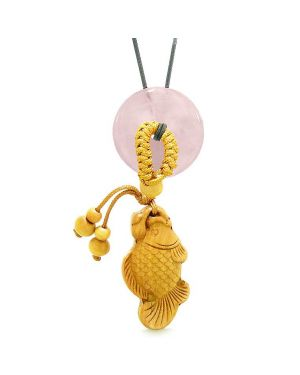 Fortune Fish Magic Car Charm or Home Decor Rose Quartz Lucky Coin Donut Protection Powers Amulet
