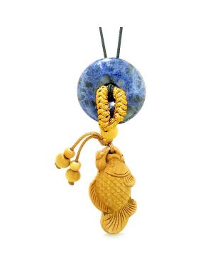 Fortune Fish Magic Car Charm or Home Decor Sodalite Lucky Coin Donut Protection Powers Amulet