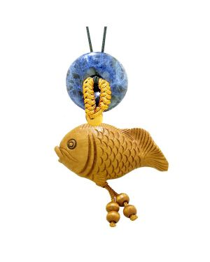 Fortune Cute Fish Car Charm or Home Decor Sodalite Lucky Coin Donut Protection Powers Magic Amulet