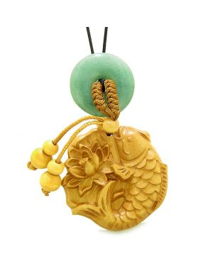 Fortune Fish Blooming Lotus Car Charm Home Decor Green Quartz Donut Protection Powers Magic Amulet