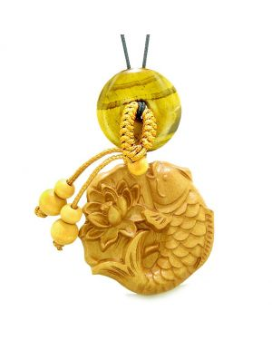 Fortune Fish Blooming Lotus Car Charm or Home Decor Tiger Eye Donut Protection Powers Magic Amulet