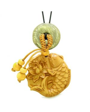 Fortune Fish Blooming Lotus Car Charm Home Decor Golden Pyrite IrDonut Protect Powers Magic Amulet