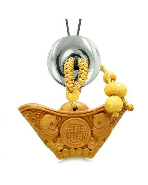 Double Lucky Fish Wulu Coin Car Charm or Home Decor Hematite Donut Protection Powers Magic Amulet