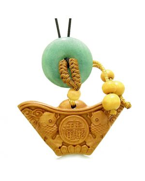 Double Lucky Fish Wulu Coin Car Charm Home Decor Green Quartz Donut Protection Powers Magic Amulet