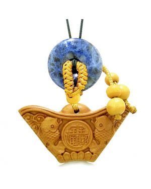Double Lucky Fish Wulu Coin Car Charm or Home Decor Sodalite Donut Protection Powers Magic Amulet