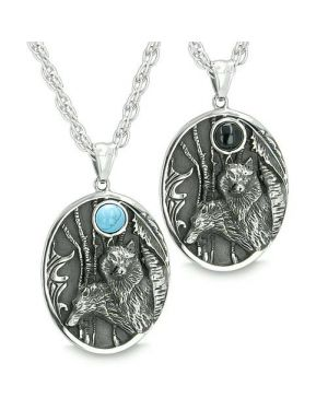 Mother and Son Wolf Family Amulet Wild Woods Moon Energy Onyx Turquoise Gems Pendant Necklaces