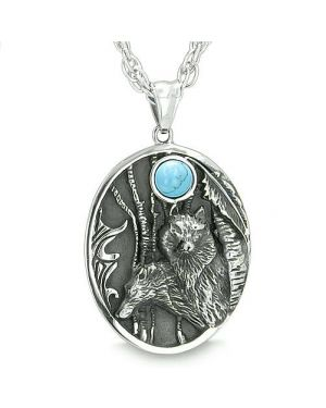 Mother and Son Wolf Family Amulet Moon Positive Wild Woods Turquoise Protection Pendant Necklace