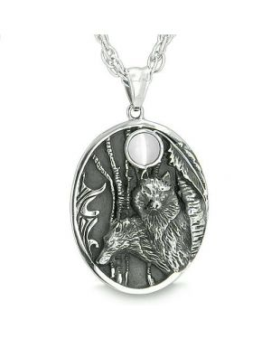 Mother and Son Wolf Family Amulet Moon Positive Woods White Cats Eye Protection Pendant Necklace