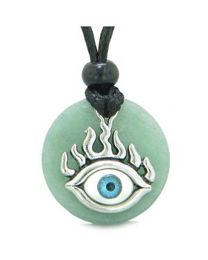 Cool Evil Eye Protection Flames Amulet Green Quartz Medallion Magic Powers Adjustable Necklace