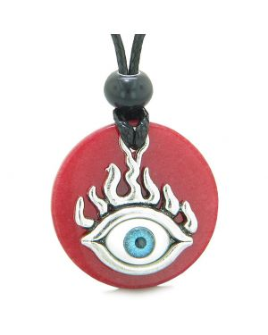 Cool Evil Eye Protection Flames Amulet Red Quartz Medallion Magic Powers Adjustable Necklace
