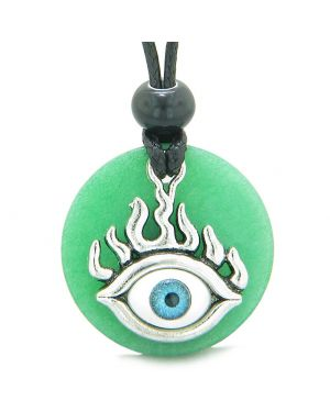 Cool Evil Eye Protection Flames Amulet Deep Green Quartz Medallion Magic Powers Adjustable Necklace