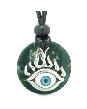 Cool Evil Eye Protection Flames Amulet Green Moss Agate Medallion Magic Powers Adjustable Necklace