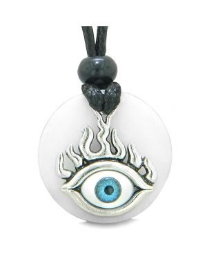 Cool Evil Eye Protection Flames Amulet White Quartz Medallion Magic Powers Adjustable Necklace