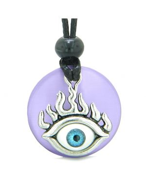 Cool Evil Eye Protection Flames Amulet Purple Simulated Cats Eye Medallion Magic Powers Necklace