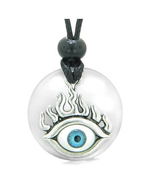 Cool Evil Eye Protection Flames Amulet White Simulated Cats Eye Medallion Magic Powers Necklace