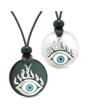 Cool Evil Eye Protection Flames Love Couples or BFF Set Agate White Simulated Cats Eye Magic Necklaces