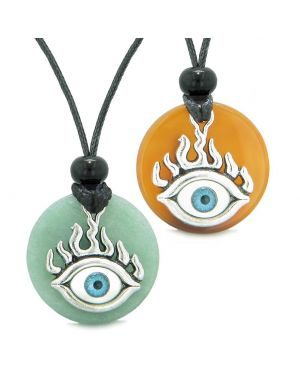 Cool Evil Eye Protection Flames Love Couples or BFF Set Green Quartz Carnelian Magic Powers Necklaces