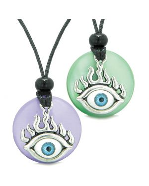 Cool Evil Eye Protection Flames Love Couples or BFF Set Green Purple Simulated Cats Eye Magic Necklaces