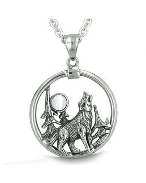 Amulet Medallion Howling Wolf Moon Forces of Nature ProtectiWhite Cats Eye Pendant Necklace