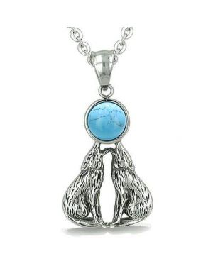 Amulet Howling Love Couple Wolf Moon Courage Eternity Powers Turquoise Gem Pendant Necklace