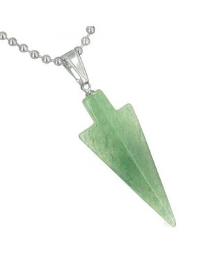 Amulet Lucky Charm Arrowhead Totem in Green Aventurine Gemstone Good Luck Powers Pendant Necklace