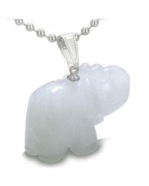 Amulet Lucky Charm Elephant Totem White Jade Gemstone Good Luck Protection Powers Pendant Necklace